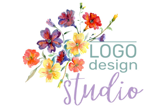 Print on Demand: LOGO with Wildflowers Watercolor Png Graphic Illustrations By MyStocks - Image 3