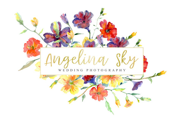 Print on Demand: LOGO with Wildflowers Watercolor Png Graphic Illustrations By MyStocks - Image 4