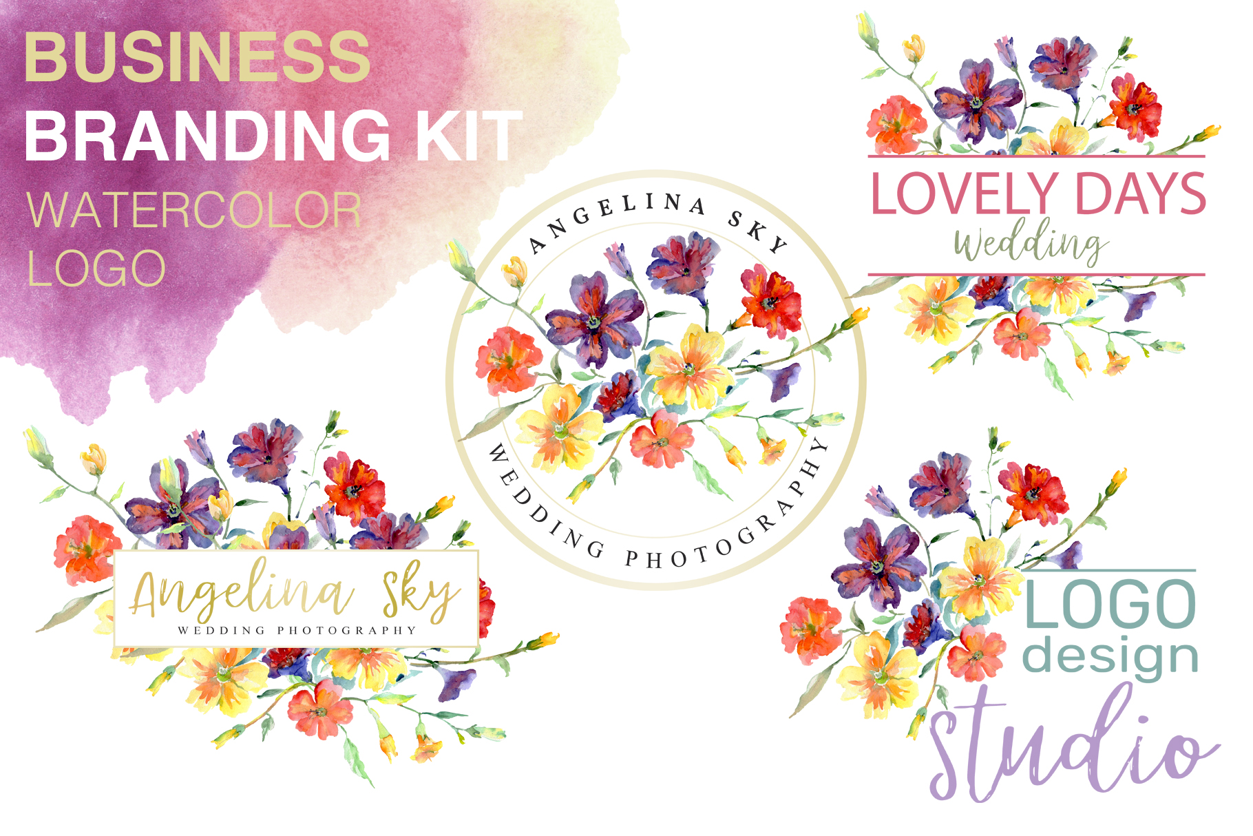Download Free Logo With Wildflowers Watercolor Png Graphic By Mystocks for Cricut Explore, Silhouette and other cutting machines.