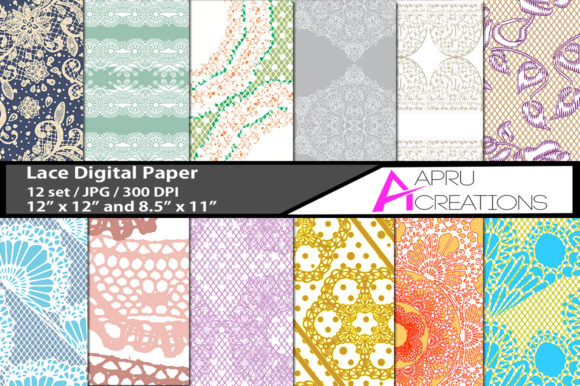 Print on Demand: Lace Digital Papers and Patterns Graphic Backgrounds By aparnastjp