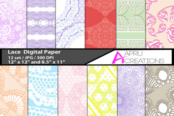 Print on Demand: Lace Papers and Patterns Graphic Textures By aparnastjp