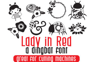 Print on Demand: Lady in Red Dingbats Font By Illustration Ink