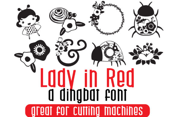 Print on Demand: Lady in Red Dingbats Font By Illustration Ink - Image 1