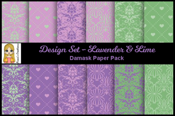 Lavender & Lime - Damask Paper Pack Graphic By Aisne