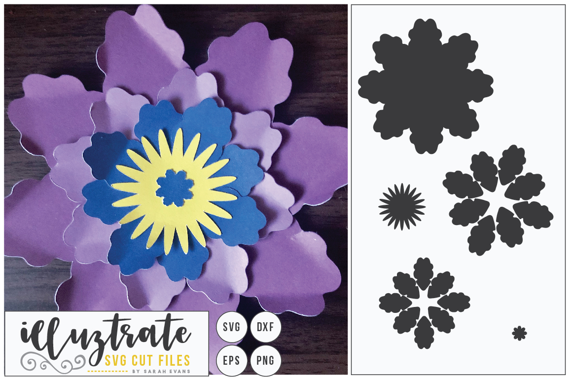 Download Free Layered Flower Graphic By Illuztrate Creative Fabrica for Cricut Explore, Silhouette and other cutting machines.