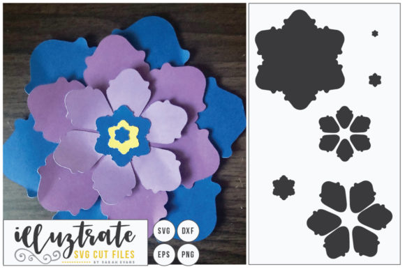 Print on Demand: Layered Flower Cutting File - Paper Cut Gráfico Flores en 3D Por illuztrate