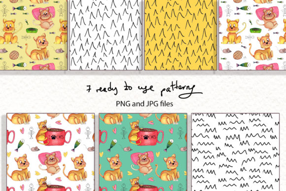 Print on Demand: Lazy Cats Watercolor Illustrations Graphic Illustrations By tanatadesign - Image 2