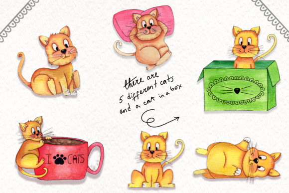 Print on Demand: Lazy Cats Watercolor Illustrations Graphic Illustrations By tanatadesign - Image 3