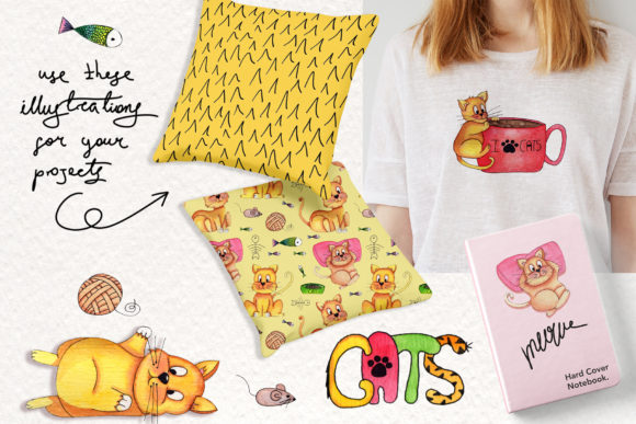 Print on Demand: Lazy Cats Watercolor Illustrations Graphic Illustrations By tanatadesign - Image 4