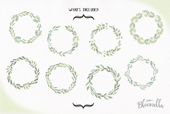 Download Free Leave Me Happy Wreaths Leaves Watercolor Graphic By Bloomella for Cricut Explore, Silhouette and other cutting machines.