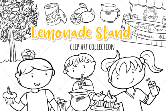 Print on Demand: Lemonade Stand (Black and White) Graphic Illustrations By Keepinitkawaiidesign