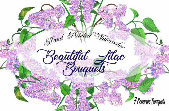 Print on Demand: Lilac Spring Bouquets Clipart Graphic Illustrations By natalia.piacheva