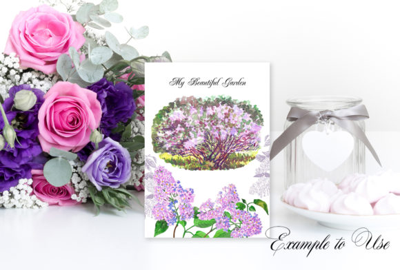 Print on Demand: Lilac Spring Garden Clipart Graphic Illustrations By natalia.piacheva - Image 4