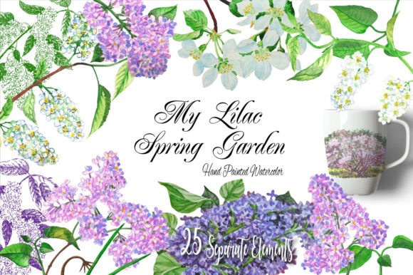 Print on Demand: Lilac Spring Garden Clipart Graphic Illustrations By natalia.piacheva