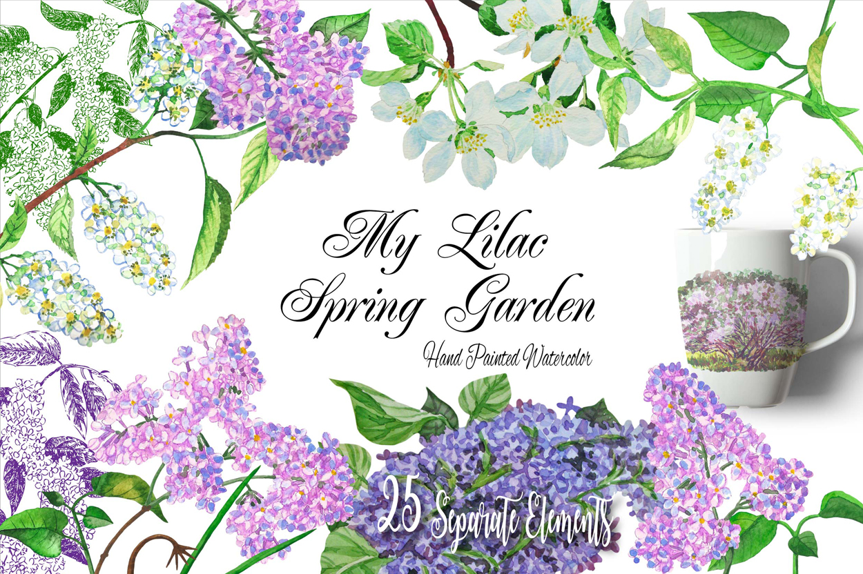 Download Free Lilac Spring Garden Clipart Graphic By Natalia Piacheva for Cricut Explore, Silhouette and other cutting machines.