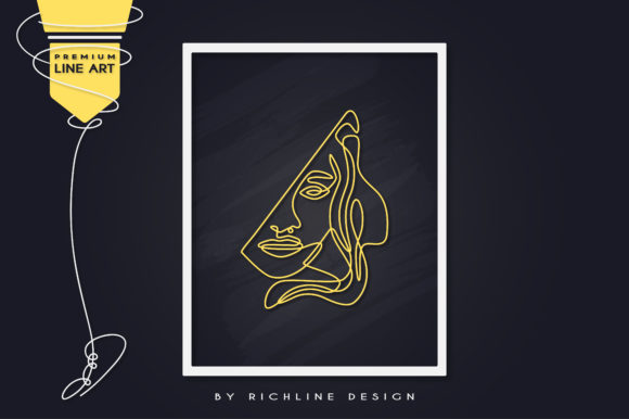 Line Art Poster Girl Queen Graphic Illustrations By RICHLINE DESIGN