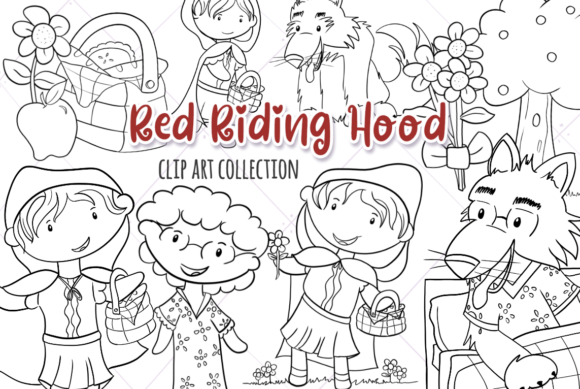 Print on Demand: Little Red Riding Hood (Black and White) Graphic Illustrations By Keepinitkawaiidesign