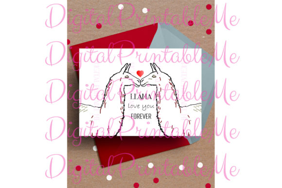 Llama Card, Valentine Love Anniversary Graphic By DigitalPrintableMe