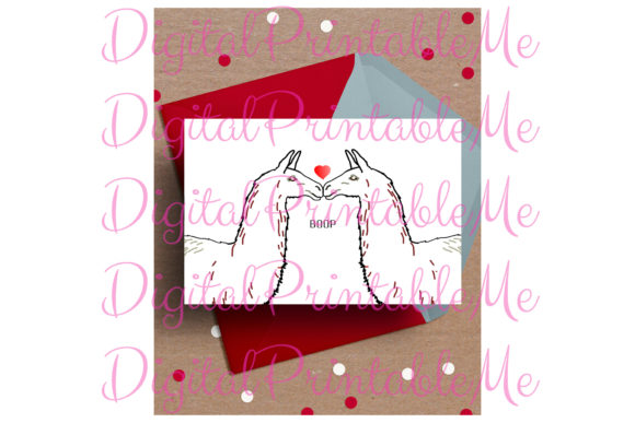 Llama Card Valentine's Day Card Graphic By DigitalPrintableMe Image 1