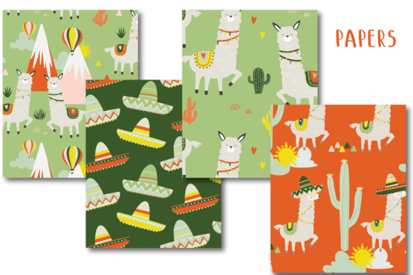 Print on Demand: Llama Bright Papers Graphic Patterns By poppymoondesign - Image 2