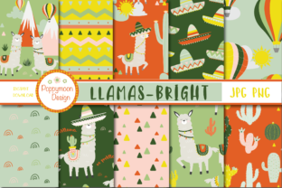 Print on Demand: Llama Bright Papers Graphic Patterns By poppymoondesign