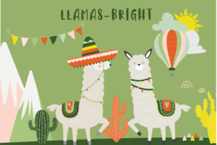 Download Free Llamas Bright Clipart Graphic By Poppymoondesign Creative Fabrica for Cricut Explore, Silhouette and other cutting machines.