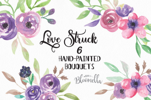 Love Strick Purple Flowers Watercolor Graphic Illustrations By Bloomella