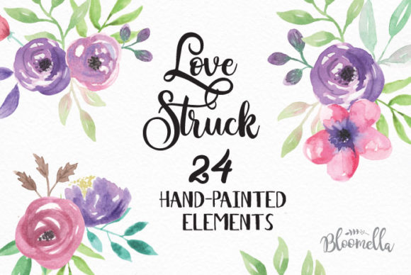 Love Struck Purple Watercolor Flower Set Graphic Illustrations By Bloomella