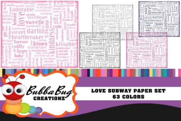 Love Subway Paper Set Graphic Backgrounds By BUBBABUG