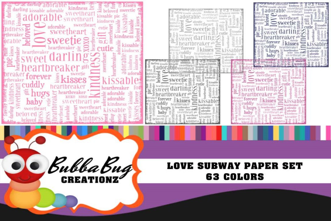 Download Free Love Subway Paper Set Graphic By Bubbabug Creative Fabrica for Cricut Explore, Silhouette and other cutting machines.