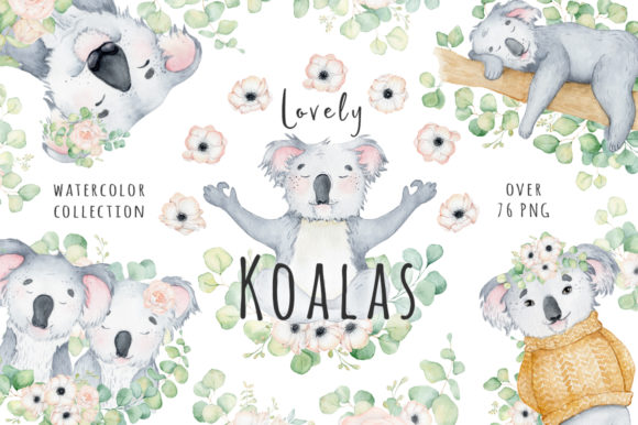 Lovely Koalas and Eucalyptus Watercolor Graphic Illustrations By EvgeniiasArt