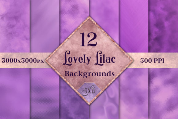 Print on Demand: Lovely Lilac Backgrounds 12 Images Graphic Backgrounds By SapphireXDesigns