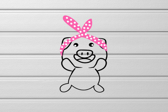 Download Free Lovely Pig Svg Lovely Bow Baby Pig Svg Graphic By Scmdesign for Cricut Explore, Silhouette and other cutting machines.