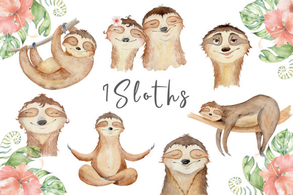 Lovely Sloths Watercolor Animals Clipart Graphic Illustrations By EvgeniiasArt - Image 2