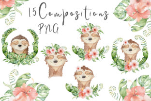 Lovely Sloths Watercolor Animals Clipart Graphic Illustrations By EvgeniiasArt 4