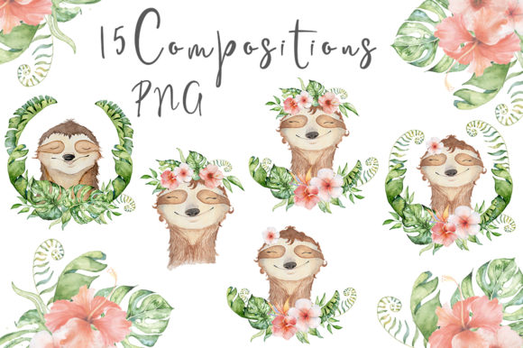 Lovely Sloths Watercolor Animals Clipart Graphic Illustrations By EvgeniiasArt - Image 4