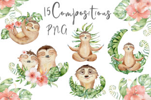 Lovely Sloths Watercolor Animals Clipart Graphic Illustrations By EvgeniiasArt 6