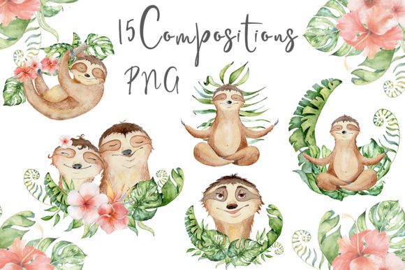 Lovely Sloths Watercolor Animals Clipart Graphic Illustrations By EvgeniiasArt - Image 6