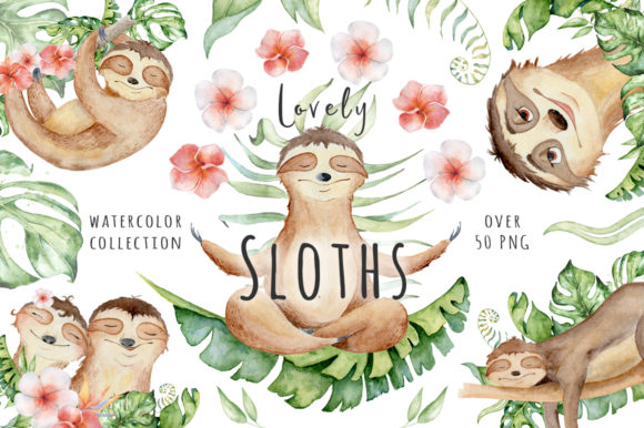 Lovely Sloths Watercolor Animals Clipart Gráfico Ilustraciones Por EvgeniiasArt