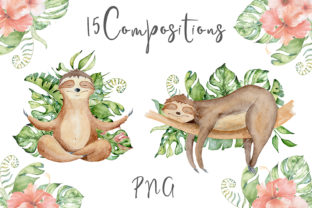 Lovely Sloths Watercolor Animals Clipart Graphic Illustrations By EvgeniiasArt 8