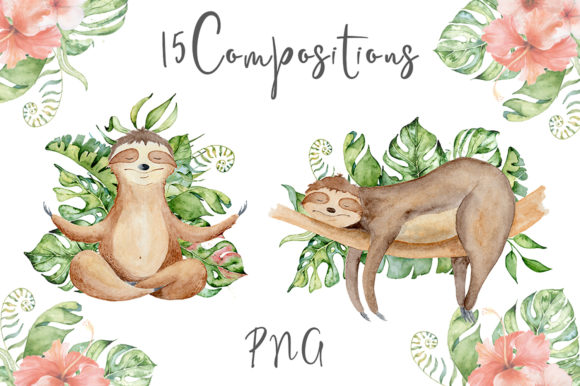Lovely Sloths Watercolor Animals Clipart Graphic Illustrations By EvgeniiasArt - Image 8