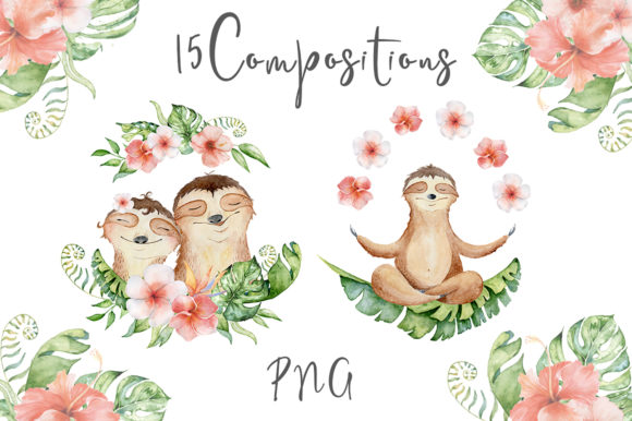 Lovely Sloths Watercolor Animals Clipart Graphic Illustrations By EvgeniiasArt - Image 9