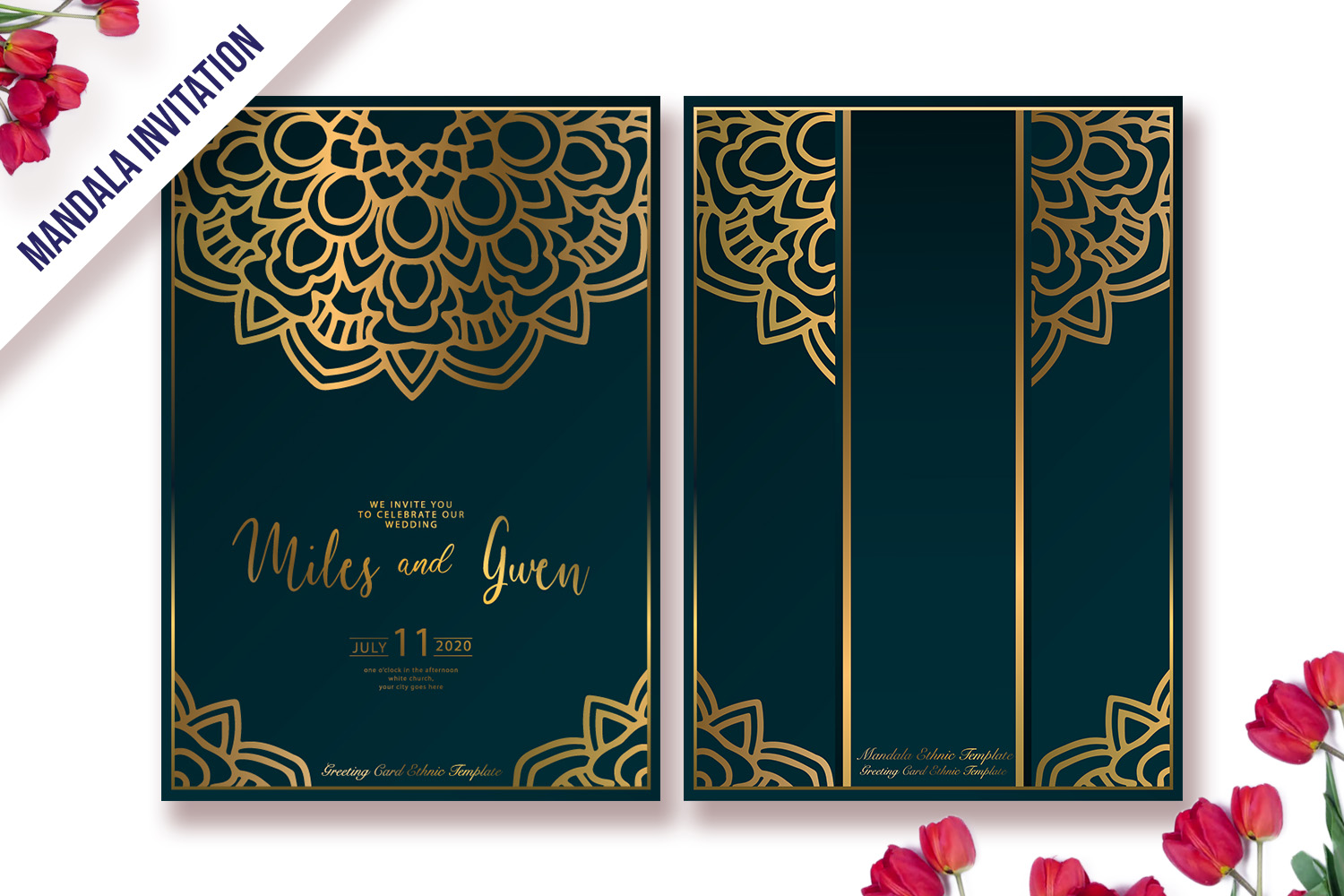 Download Free Luxury Gold Invitation Template Mandala Graphic By for Cricut Explore, Silhouette and other cutting machines.