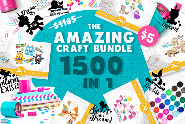 Download Free The Amazing Craft Bundle 1500 In 1 Bundle Creative Fabrica for Cricut Explore, Silhouette and other cutting machines.