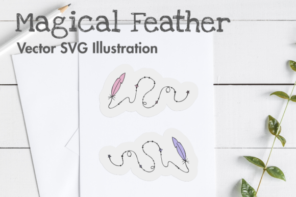 Print on Demand: Magical Feather Vector SVG Illustration. Graphic Illustrations By artsbynaty