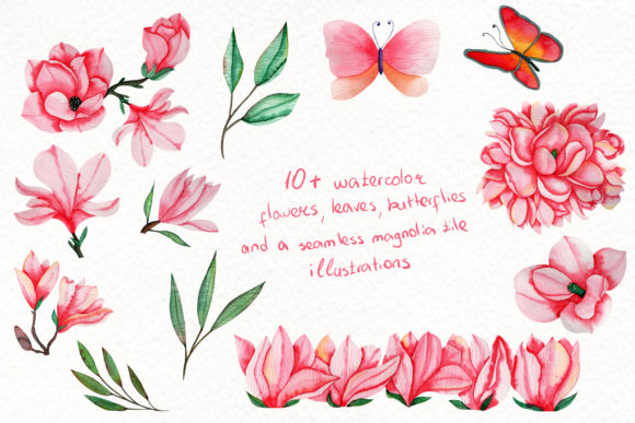 Print on Demand: Magnolia Dream-Watercolor Illustrations Graphic Illustrations By tanatadesign - Image 3