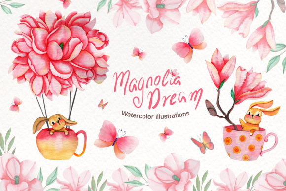 Print on Demand: Magnolia Dream-Watercolor Illustrations Graphic Illustrations By tanatadesign - Image 1
