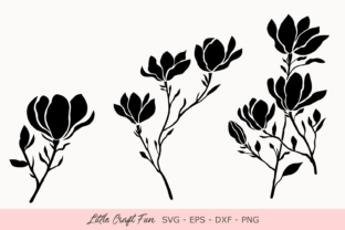 Print on Demand: Magnolia Flowers Silhouette Graphic Crafts By Little Craft Fun