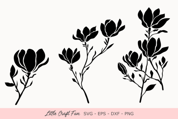 Download Free Magnolia Flowers Silhouette Svg Graphic By Little Craft Fun for Cricut Explore, Silhouette and other cutting machines.