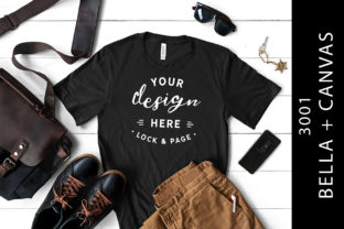 Male Black Bella Canvas 3001 Shirt Mock Graphic Product Mockups By lockandpage